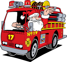 Comical image of Santa driving a firetruck and waving